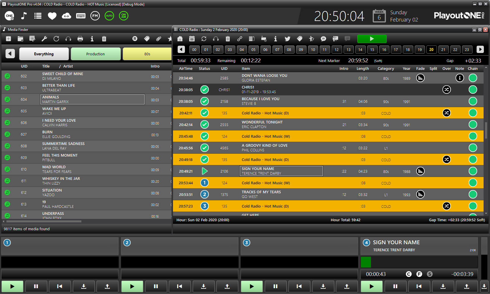 PlayoutONE Dark Mode Radio Automation
