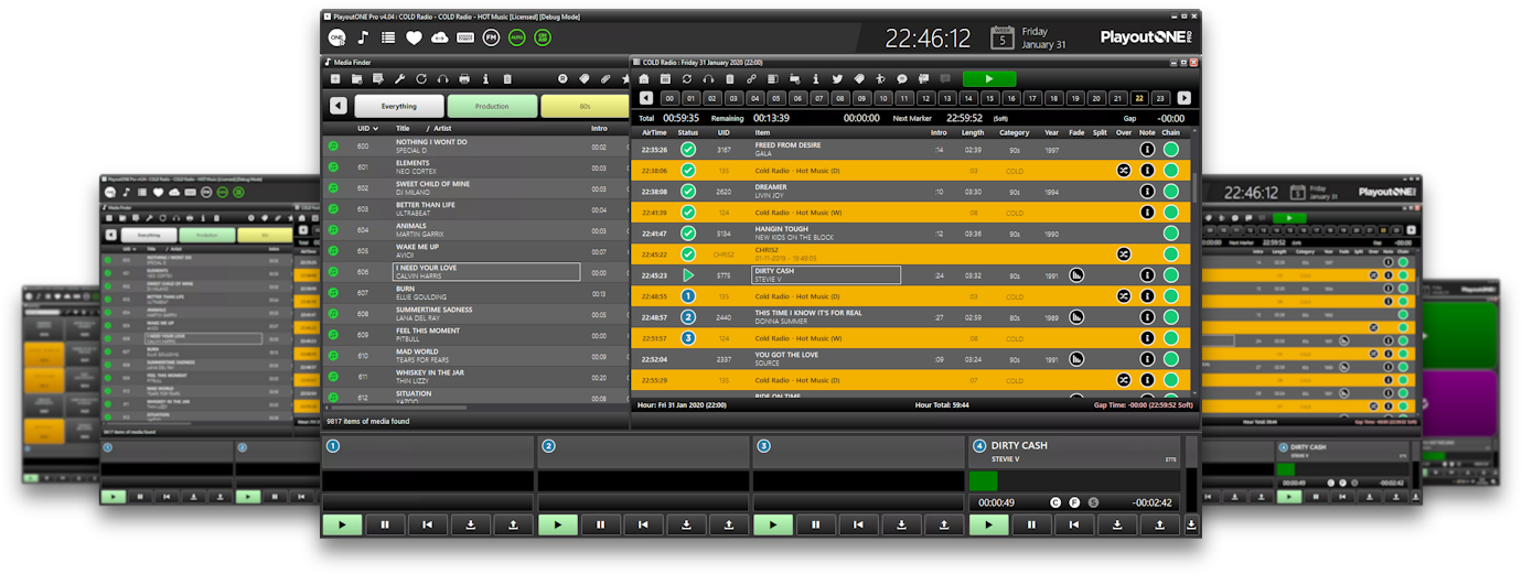 PlayoutONE Dark Mode Radio Automation