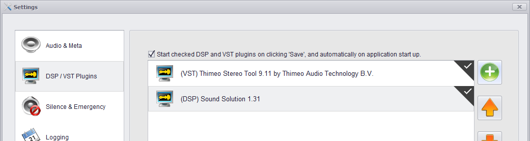 LiveStream VST and DSP plugin support