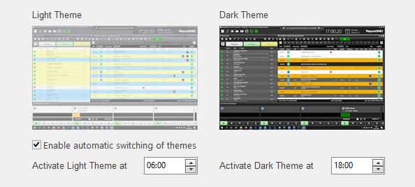 Choose dark or light mode in PlayoutONE